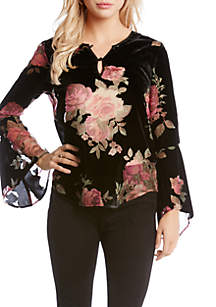 Floral Velvet Burnout Top