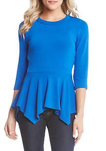 3/4 Sleeve Peplum Knit Sweater