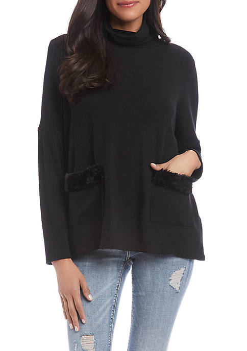 Karen Kane Womens Faux Fur Pocket Sweater