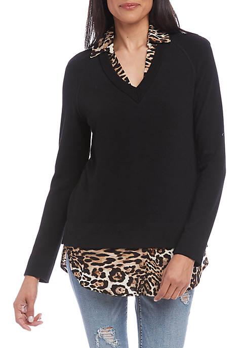 Karen Kane Womens Layered Sweater
