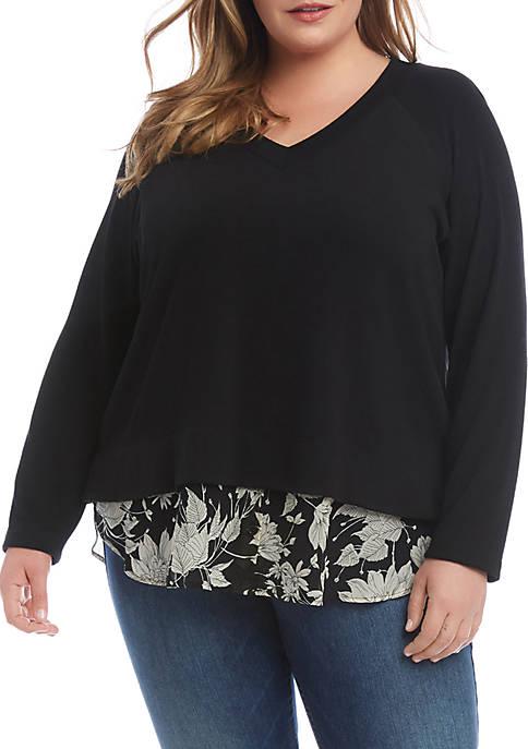 Karen Kane Plus Size Contrast Hem Sweater