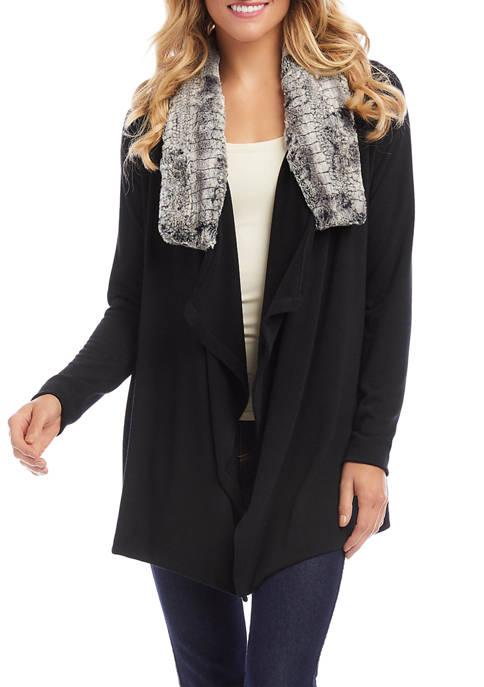 Karen Kane Petite Faux Fur Collar Jacket