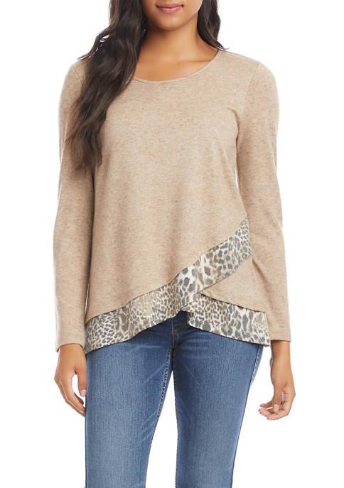 Womens Contrast Hem Sweater
