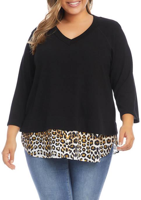 Karen Kane Plus Size 3/4 Sleeve Layered Sweater