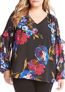 Plus Size Ruffle Sleeve Printed Floral Blouse