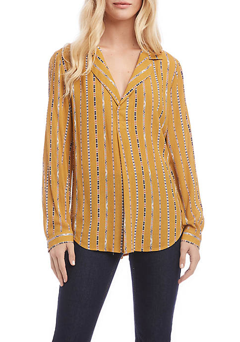 Karen Kane Long Sleeve Placket Shirt