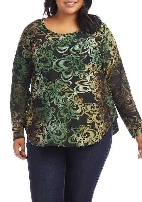 Plus Size Tie Dye Long Sleeve Burnout Knit Top