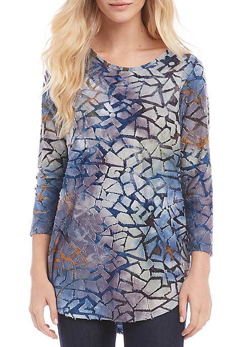 Karen Kane Tie Dye Burnout Shirttail Top