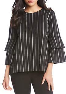 Flare Sleeve Vertical Stripe Blouse