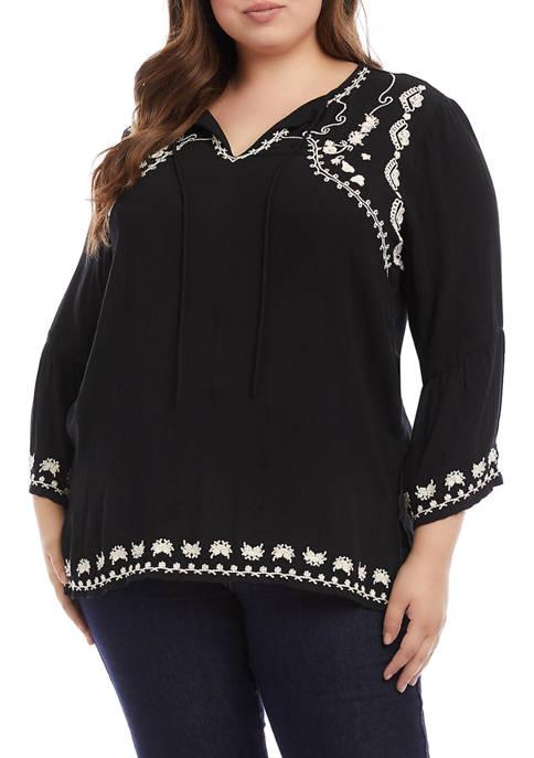 Karen Kane Plus Size Embroidered Side Slit Jacket