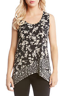 Contrast Floral Print Knit Tank