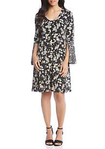 Floral Contrast Trim Taylor Dress