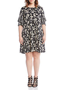 Plus Size Contrasting Print Ruffle Sleeve Dress