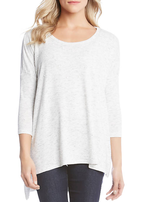 Karen Kane Pearl Embellished Three-Quarter Sleeve Top