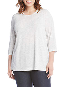 Plus Size Three-Quarter Sleeve Pearl Top