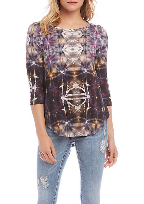 Karen Kane 3/4 Sleeve Shirttail T-Shirt