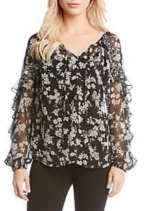 Floral Contrast Ruffle Top