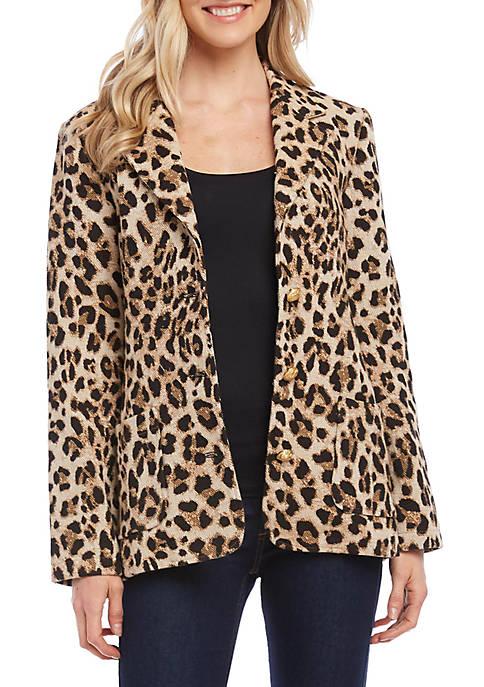 Karen Kane Womens Leopard Jacquard Blazer