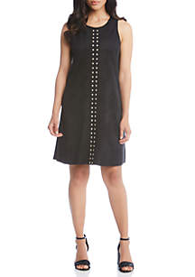 Studded A-Line Faux Suede Dress