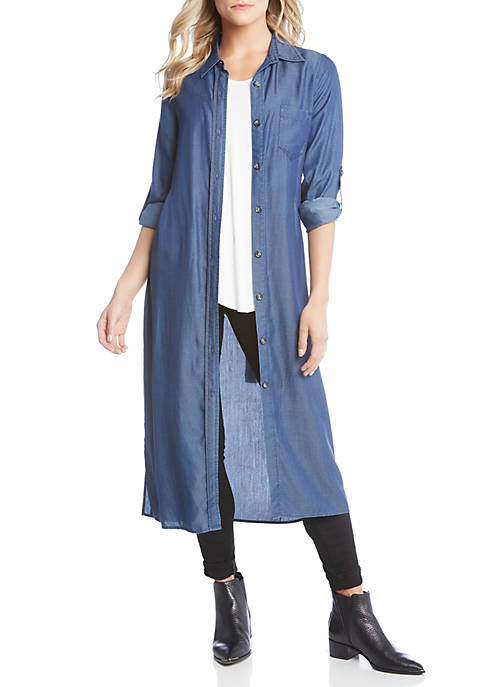 Karen Kane Belted Chambray Shirtdress