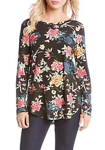 Floral Print Shirttail Tee
