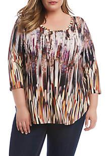 Karen Kane Plus Size 3/4 Sleeve Shirttail Top