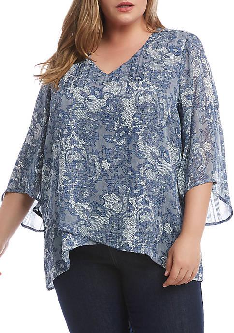 Karen Kane Plus Size Bracelet Flare Sleeve Asymmetric