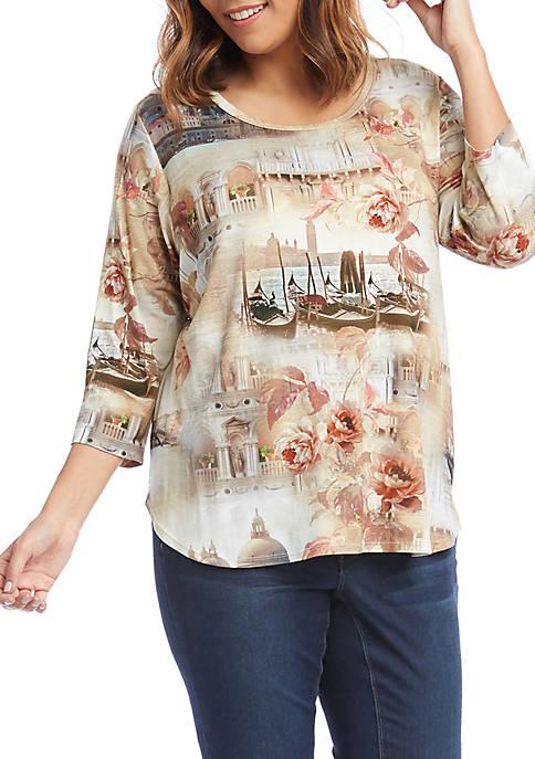 Karen Kane Plus Size Womens Shirttail Italian Montage