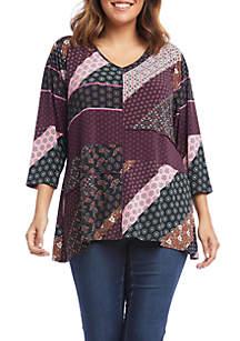 Karen Kane Plus Size 3/4 Sleeve Swing Top