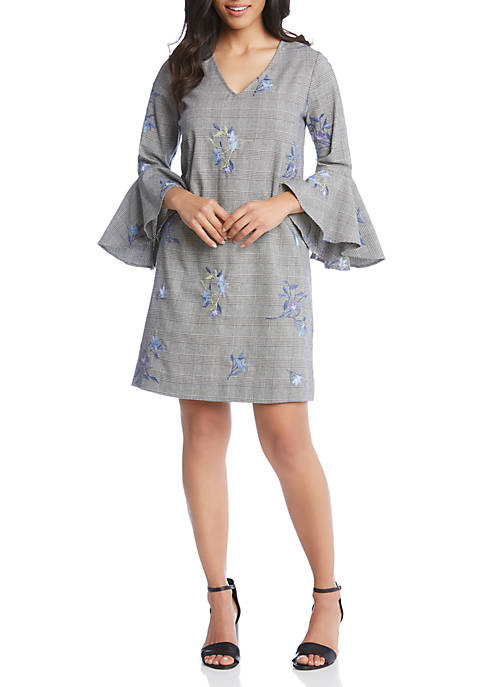 Karen Kane Embroidered Flare Sleeve Dress