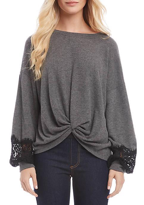 Karen Kane Lace Sleeve Twist Front Top