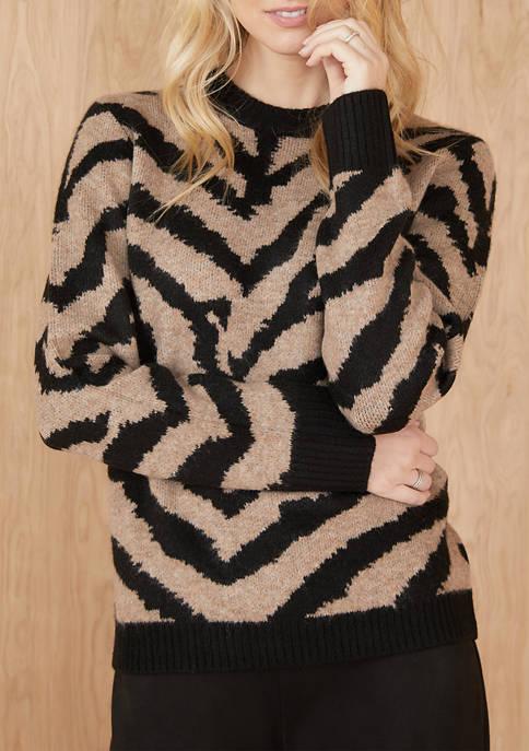 Karen Kane Womens Animal Jacquard Pullover