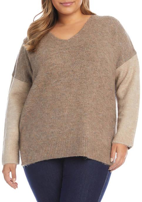 Karen Kane Plus Size Color Block V-Neck Sweater