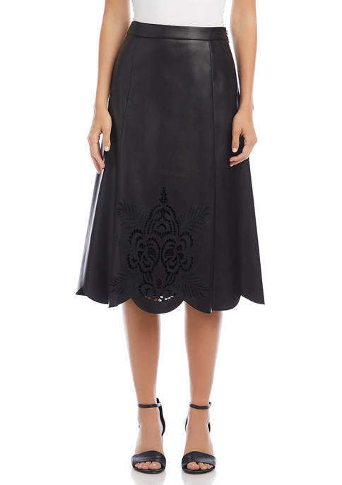 Karen Kane Womens Faux Leather Midi Skirt