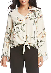 Flare Sleeve Tie-Front Top