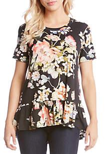 Ruffle Hem Floral Top