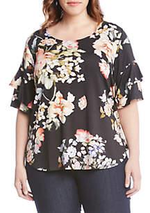 Plus Size Flower Ruffle Sleeve Top
