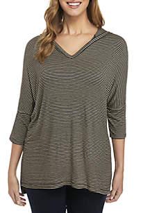 3/4 Sleeve Stripe Hoodie