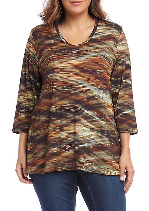 Karen Kane Plus Size 3/4 Sleeve Side Slit