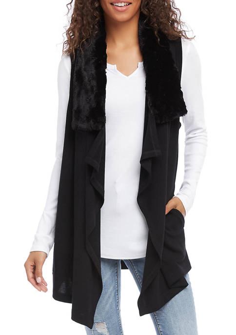 Karen Kane Womens Faux Fur Collar Vest