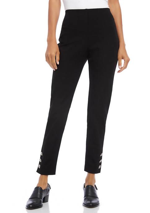 Karen Kane Womens Button Up Hem Piper Pants