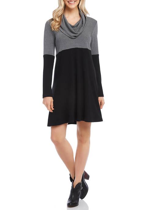 Womens Cowl Neck Color Block Dress
