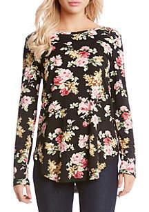 Long Sleeve Rose Shirttail Tee