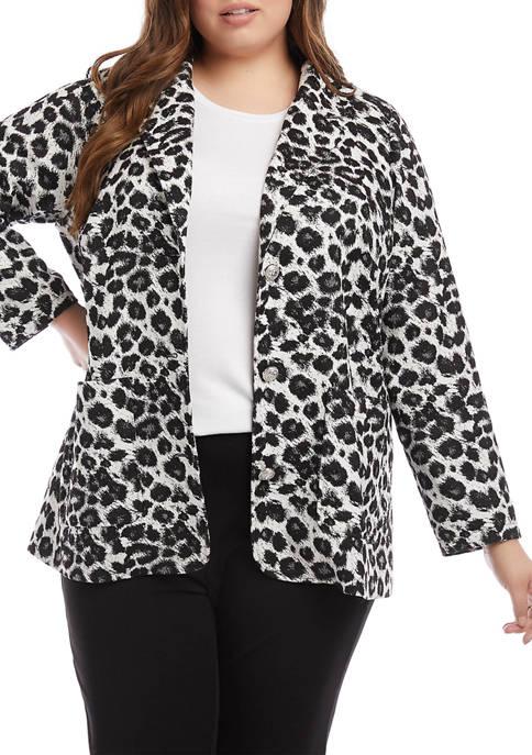 Karen Kane Plus Size Animal Jacquard Blazer