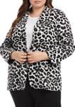 Plus Size Animal Jacquard Blazer