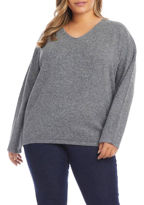 Karen Kane Plus Size V-Neck Relaxed Fit Sweater