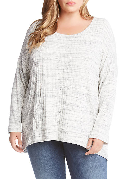 Karen Kane Plus Size Ribbed Contrast Sweater