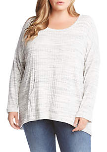 Plus Size Ribbed Contrast Sweater