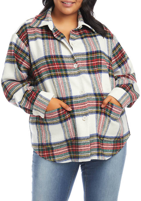 Karen Kane Plus Size Tartan Plaid Shirt