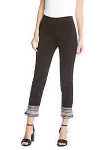 Contrast Hem Piper Pants